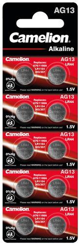 Pila botón 1,5 V, LR44 alcalina, 10 ud.