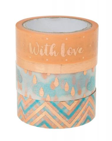 Washi Tape - hotfoil oro rosé, set da 4