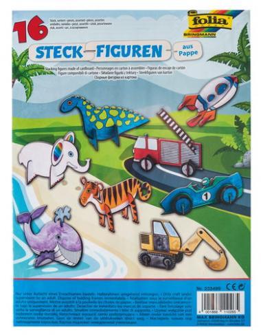 Figurines en carton à assembler, animaux/véhicules