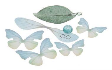 Schmuckset Anhänger Schmetterling & Blatt, grün