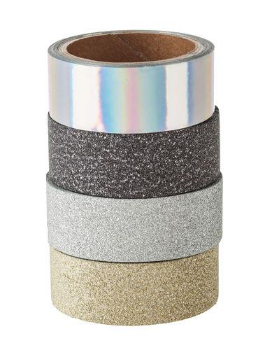 Tape glitter, diversi motivi e colori, set da 4