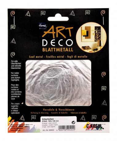 Art Deco Blattmetall, 6 Blatt silber (14 x 14 cm)