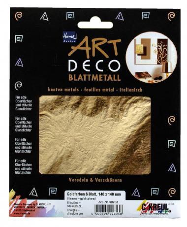 Láminas de metal color oro (14 x 14 cm) 6 ud.