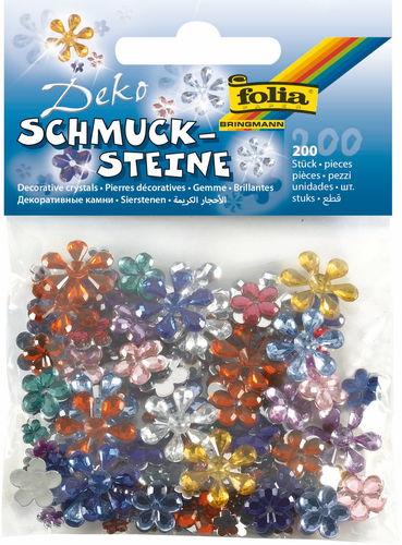 Piedras de bisutería - Flores, 200 ud. color surt.
