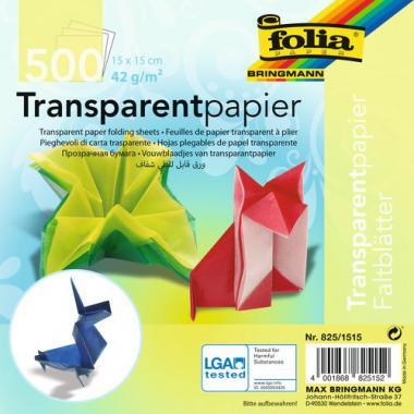 Papel transparente para doblar, 15x15cm, 500 hojas
