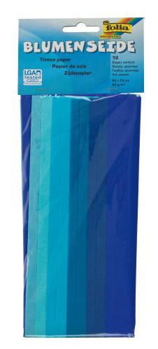 Zijdepapier kleur op kleur, blauw, 10 vel