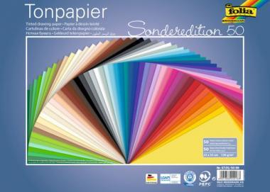 Cartoncino 130g, 25x35cm/50 fogli colori assortiti