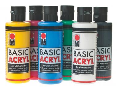 Set di colori acrilici Marabu-BASIC ACRYL 6x80ml