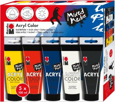 Marabu acrylverf set - Mixed Media 5 x 100 ml