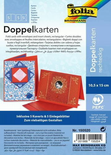 Doppelkarten, 5 Stück rot           (DIN A6)
