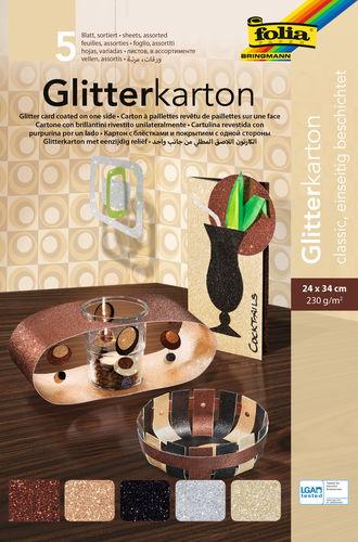 Cartoncino glitter, 240x340mm, 5 fogli, classic