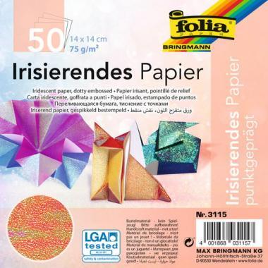 Irisierendes Papier, 50 Blatt farbig (14 x 14 cm)