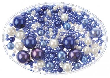 Mix di perline Renaissance,65g,4-1,4mm, blu-bianco