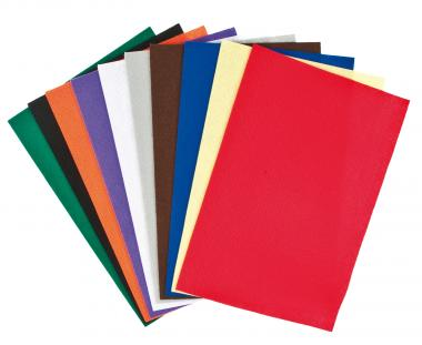 Bastelfilz, 10 Platten farbig (1,5 x 200 x 300 mm)