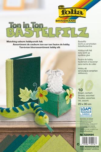 Bastelfilz, 10 Platten Grüntöne (1,5x200x300 mm)
