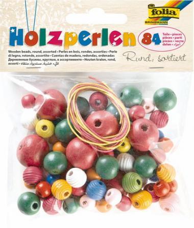Houten kralen, 84 stuks met 2 koorden