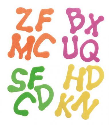 Letras de gomaespuma, alfabeto completo, 400 ud