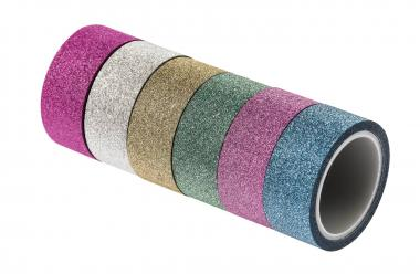 Washi Tape, Glitzer bunt, 6er-Set (15 mm x 3m)