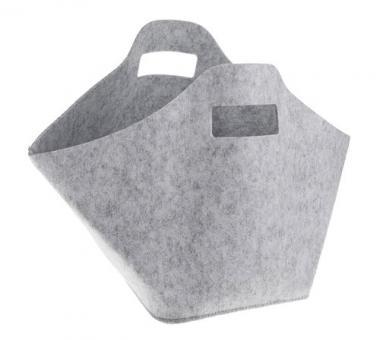 Panier en feutrine, avec poignée gris clair