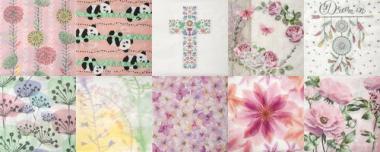 Servietten, 20 Stück Pastell Flowers (33 x 33 cm)