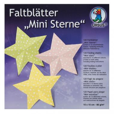 Faltblätter, 120 Blatt Mini-Sterne bunt (15x15cm)