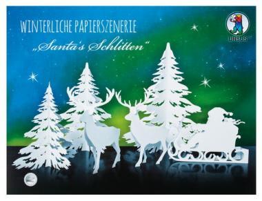 Winterliche Papierszenerie, Santa's Schlitten