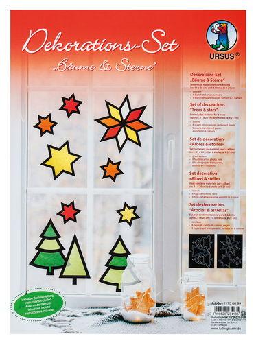 Fensterbilder Bäume & Sterne, 12er-Set bunt