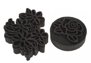 Timbro di spugna - fiori, set da 2
