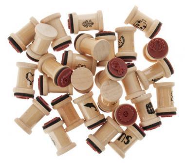 Set di timbri in legno, 27 timbri in barattolo