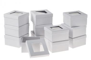 Cajas de papel Art con ventana(12,5 x 12,5 x7,5cm)