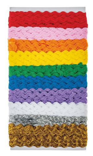 Zickzackbänder, 10er-Set farbig sortiert