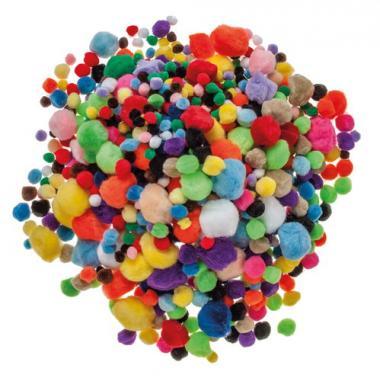 Lote escolar XL de pompones de colores, 1.200 ud.