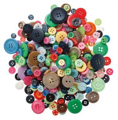 Surtido de botones de plástico, 250 ud.