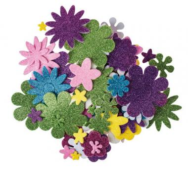 Gomma crepla glitter - fiori, set da 200