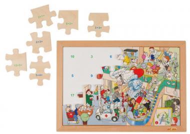 Puzzle XL, matemáticas, sumas hasta 20, 24 piezas.