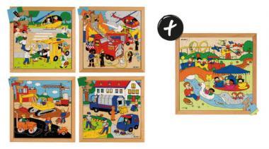 Lote de puzzles de madera - Escenas urbanas, 4 ud.