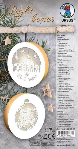 Kit boîtes lumineuses village & boule de Noël
