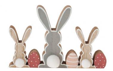 Conejitos de Pascua de madera (18 x 2 x 11,5 cm)