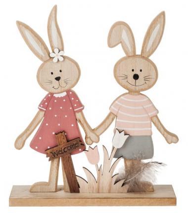Holz-Hasenpaar   (25 x 7 x 29 cm)