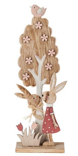 Parejita de conejos de madera (10 x 5 x 30 cm)
