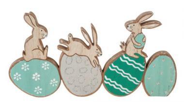 Conejitos de Pascua de madera (28,5 x 2 x 14,5 cm)