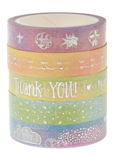 Washi-Tape, 5er-Set rainbow pastell, (10mm x 5m)