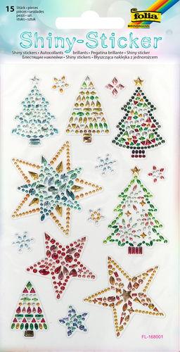 Shiny Sticker Sterne & Bäume, 15 Stück