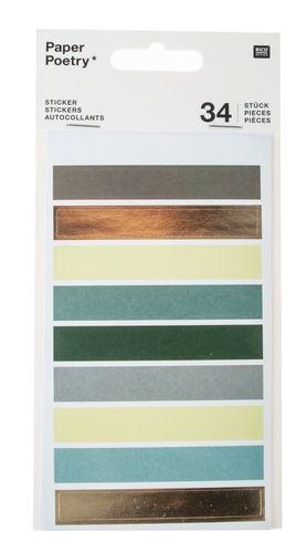 Sticker, 34 Stück Punkte/Streifen Grüntöne