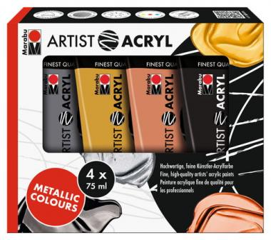 Marabu Artist Metallic Colours Acrylfarbe, 4er-Set