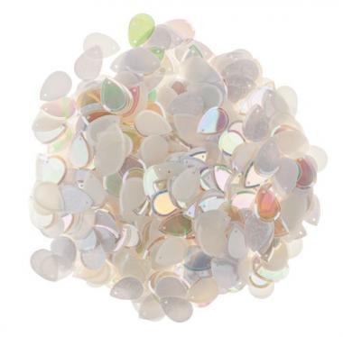Pailletten Tropfen, 50 g weiß/perlmutt/transparent