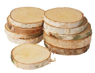 Discos de abedul redondos (8-12 cm) 10 ud.