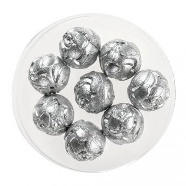 Perlas de vidrio - Rosas (10 mm) plateadas, 8 ud.