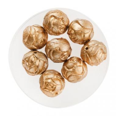Perlas de vidrio - Rosas (10 mm) doradas, 8 ud.