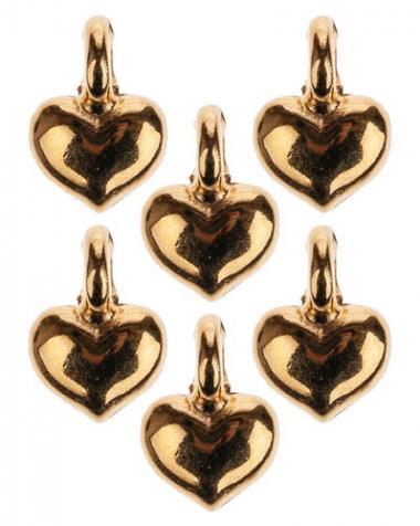 Metalen mini hangers - Hart, goud, 6 stuks